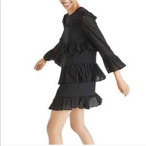 Madewell Tiered Black Eyelet Dress Sz 0